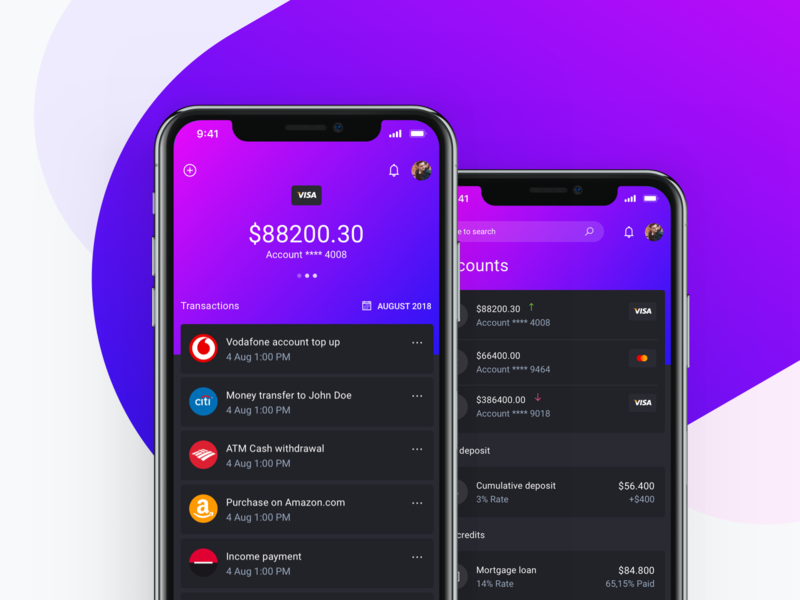 IOWallet UI Kit - Transaction details screens. Mobile Banking dark theme dark ui ethereum blockchain bitcoin crypto cryptocurrency reports budget invoice wallet bank banking fintech finance saas app ux ui kit dashboard