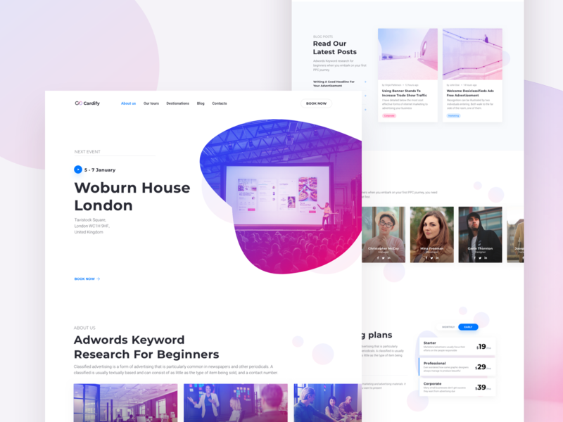 Business Event Landing Page - Cardify UI Kit event landing page conference meeting cta travel pricing app software gym event ux ui corporate launch design website business startup page landing