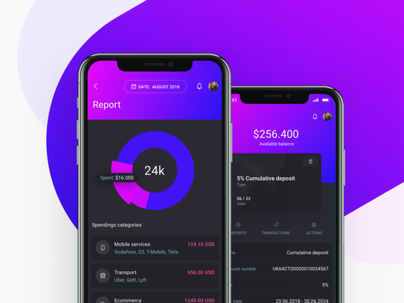 IOWallet UI Kit - Report and Account screens ethereum blockchain bitcoin crypto cryptocurrency reports budget invoice payment wallet bank banking fintech finance saas app ux ui kit admin dashboard