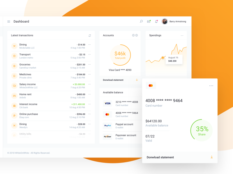IOFinance UI Kit - Bank Account Details and Report corporate cryptocurrency accounting paypal charts reports budget b2c invoice payment wallet bank banking fintech finance saas app ui kit admin dashboard