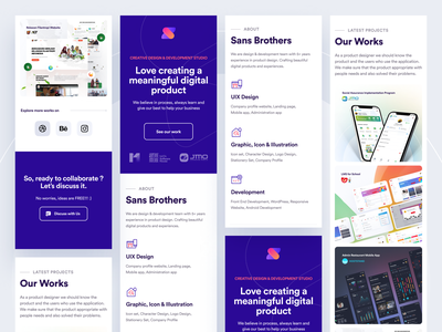 Mobile View SANS BROTHERS Official Site development agency design agency minimal modern clean official sans brothers landing page portfolio agency comprof responsive website ui