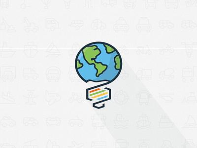Innovation Logo lightbulb science dna globe earth minimalistic flat vector innovation logo