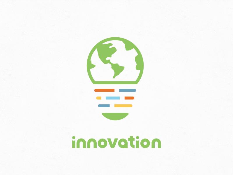 Innovation Logo Simple idea lightbulb world earth vibrant bright colorful minimalistic simple logo innovation
