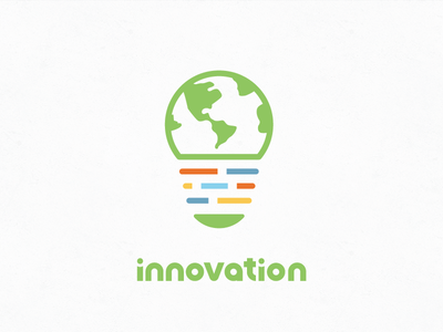 Innovation Logo Simple idea lightbulb world earth vibrant bright colorful minimalistic simple logo innovation