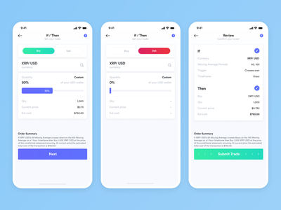 Mobile Design - Cryptocurrency Trading App trading platform trading cryptocurrency daily ui mobile ui application mobile app app design dailyui mobile ui ux
