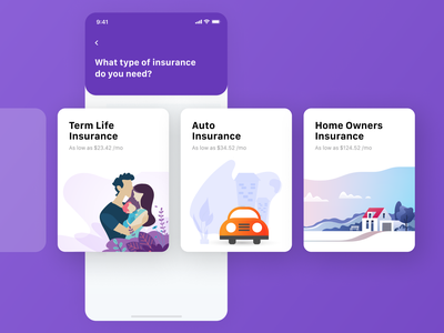 Mobile Design - Insurance App insurance app insurance mobile ui app application mobile app app design dailyui mobile ui ux