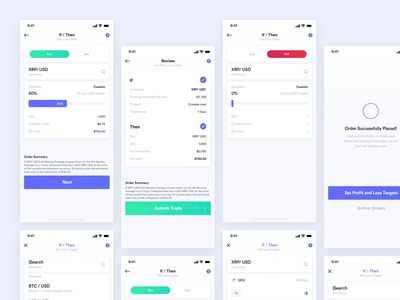 Mobile Design - Cryptocurrency Trading App mobile app design mobile app ux ui mobile uiux mobile ui dailyui daily ui cryptocurrency trading card trading app trading platform bitcoin