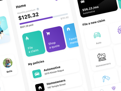 Mobile Design - Insurance App ui ux dailyui 001 dailyui app design mobile app application app mobile mobile ui auto insurance insurance insurance app