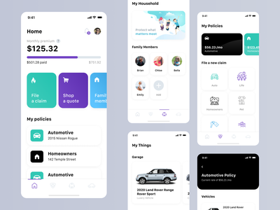 Mobile Design - Insurance App insurance app insurance daily ui ui kit mobile ui application mobile app app design dailyui mobile ui ux