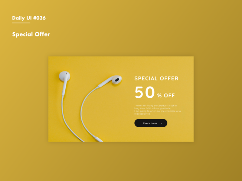 Daily UI #036 Special Offer offer special offer banner campaign daily 100 adobexd daily 100 challenge dailyui