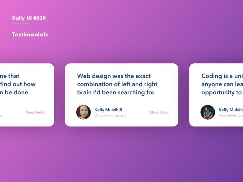 Daily UI #039 Testimonials testimonials testimonial daily 100 adobexd daily 100 challenge dailyui