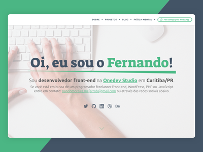 Hero Page nandomoreira.me website home page hero