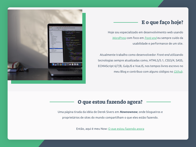 About Page - What I do today? about page website portfolio