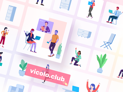 Vicolo Illustrations Kit flat header ui ui 8 template screen illustration landing page design