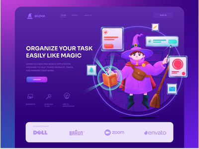 Wizma Task Manager task manager wizard purple ui header exploration design illustration header webdesign landing page