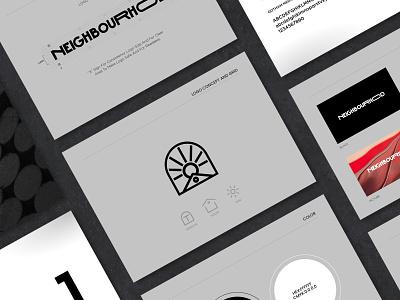 Neigbourhood Brand Guideline logotype logogram grid grid layout visual identity brand identity black  white design logo guideline