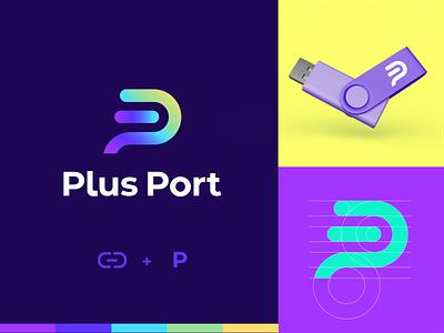 Logo Concept For Plus Port visual identity logo mark tech gradient purple p logodesign design graphic grids logo