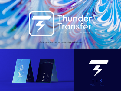Thunder Transfer Logo Concept brandidentity corporate branding thunder blue bussines card branding concept logo design branding grid visual identity