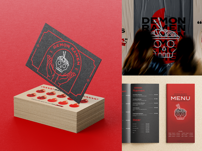 Demon ramen demon fb japan branding ramen red graphic design visual identity logo