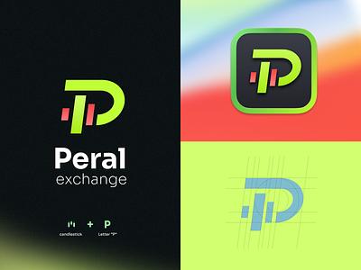 Peral exchange concept exploration neon bitcoin grid graphic design green icon branding logo trading