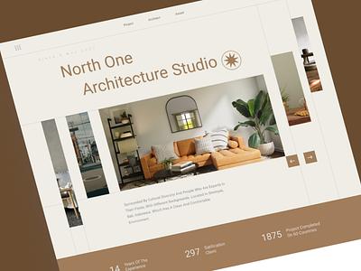 North one Architecture studio interior arc warm grid design ui header website minimalist studio architecture