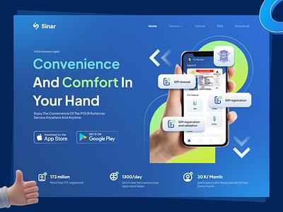 Sinar Driver license header app driverlicense ui blue rebranding webdesign landing page header