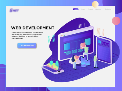 web development header grid purple ui. analitycs graphic illustration design web