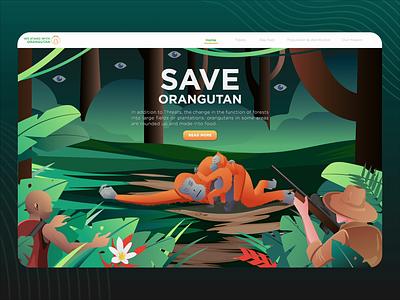 SAVE ORANGUTAN wwf animation kalimantan hunter jungle forest orangutan landing page illustration