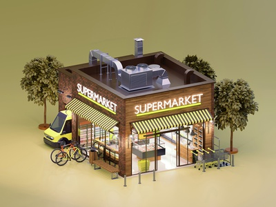 Supermarket architecture exterior grocery small facade storefront design supermarket illustration store 3d