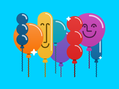 The Party Crowd product design smile bright figma vector balloons happy successful application illustration