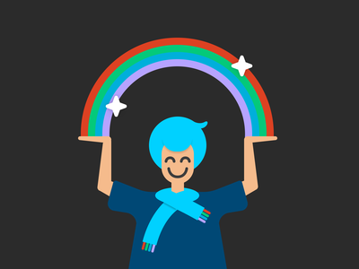 Everything Is Good product design rainbows person illustration smile happy success figma vector rainbow