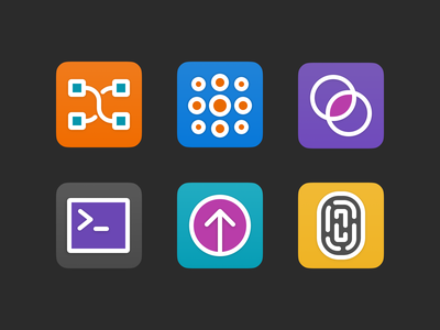 Features illustration productdesign vector colourful iconset abstract icons