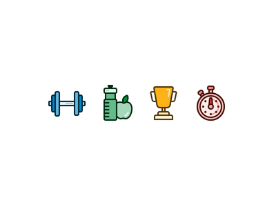 Fitness Goals - Icon Set exercise timer clock stopwatch trophy diet apple water dumbbell weights fitness icons