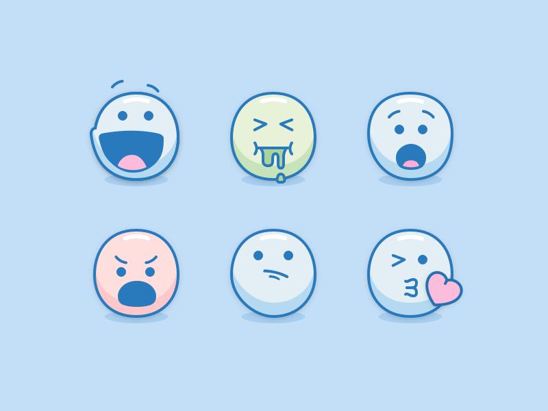 Blue Emoji kiss confused angry shocked sick happy icons faces emoji smileys