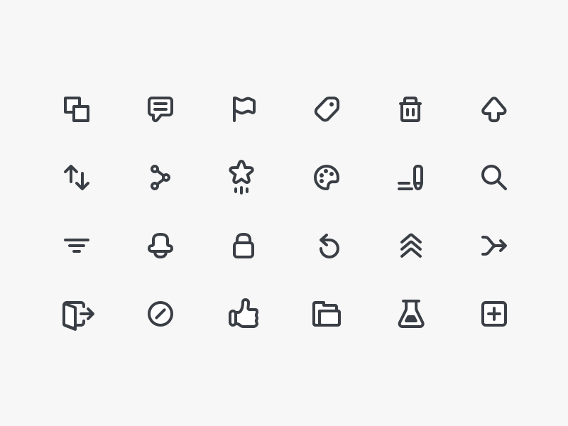 Icon Collection like share reorder vote up trash tag flag comment duplicate icons
