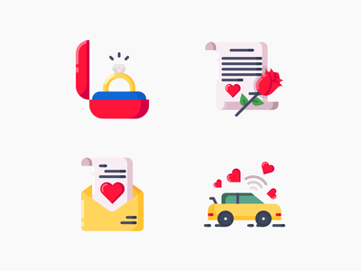 Valentine's Day Iconset car dancing message letter love ring vector illustration icon day valentine