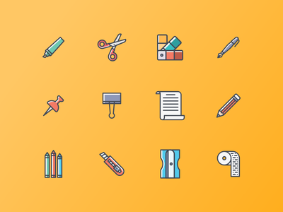 Crafting Icon pack color palette sharpener scissor cutter paper drawing marker pencil stationary crafting