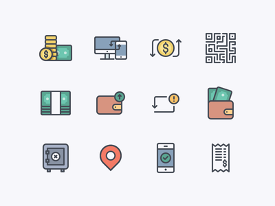 Transaction Icon Pack balance location bar-code receipt bill send receive transfer wallet money transaction