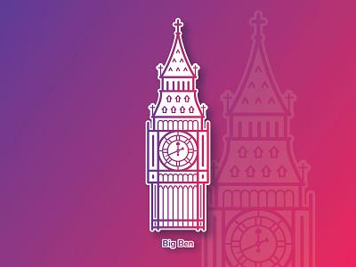 Big Ben line illustration icon clock landmark london uk tower sticker playoff ben big