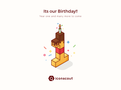 1st Anniversary!! iconmarket movement celebration startup iconscout isometric one anniversary