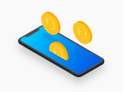 Bitcoin - Mobile Concept illustration down fall mobile system distributed cryptocurrency isometric iphone x currency virtual bitcoin