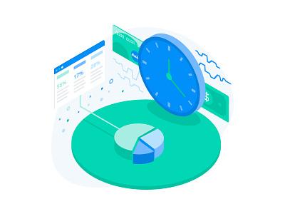 Merchant processing performance in realtime illustration transaction clock graph insight web isometry isometric illustration realtime performance processing merchant
