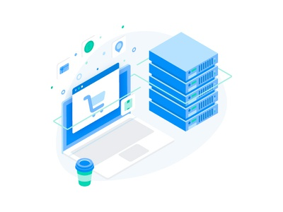 Worry free web hosting illustration chill service feature application ecommerce coffee illustration isometric server hosting website web