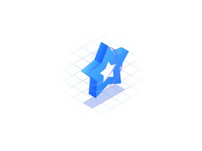 Assured Quality accuracy guaranteed gradient isometry symbol grid isometric icon star quality assured