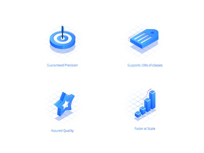 Value Proposition Icons guaranteed precesion tag label icon isometric accuracy goal target precision quality scale classes