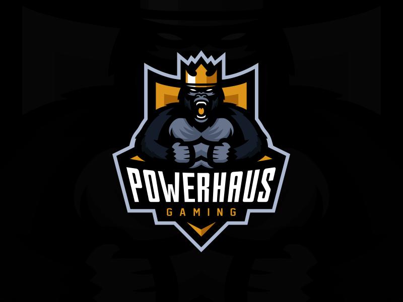 Powerhaus Gaming Primary Logo esports gaming king gorilla team logo illustrator design branding logo mascot