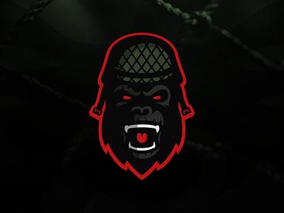 Gorilla Soldier Mascot Logo esports gamer gaming team logo sports logo soldier mascot logo illustration gorilla branding brand
