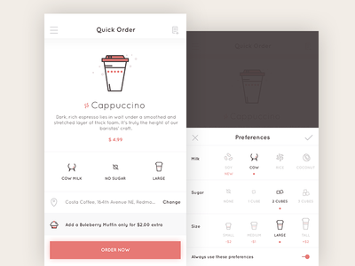 Quick Order preferences quick order cappuccino app android coffee