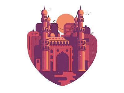 Hyderabad love charminar india hyderabad minimal bold building modern illustration print screenprint designer tshirt