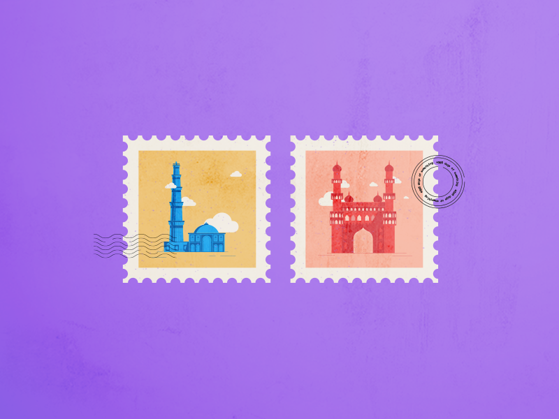 DAY019: Indian Monument Stamps travel flat illustration india char minar qutub minar textures stamps 365daysofsomething